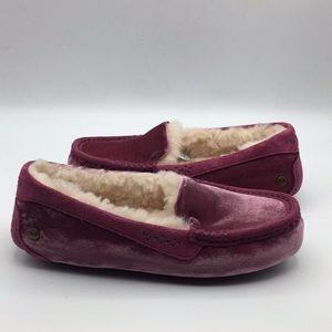 UGG Ansley Violet Red Velvet Wool Slippers